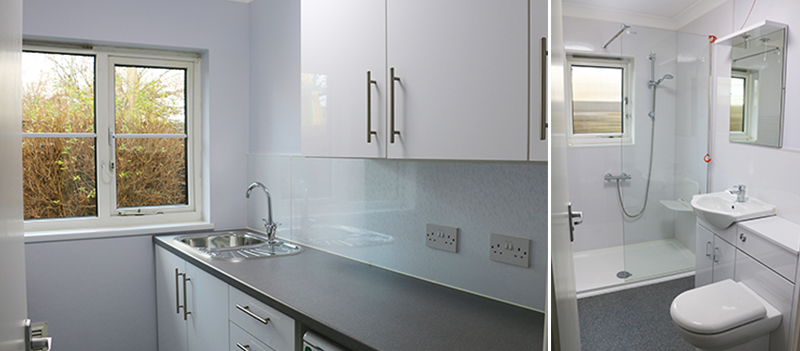 Kitchen and shower room